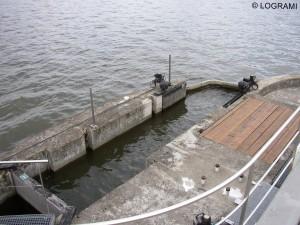 Sortie de la passe à poissons en rive droite du pont barrage de Vichy