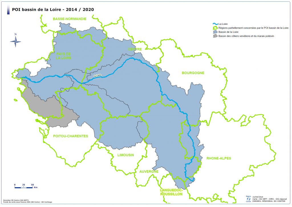 Régions du bassin versant de la Loire. Source POI 2014-2020 / Région Centre