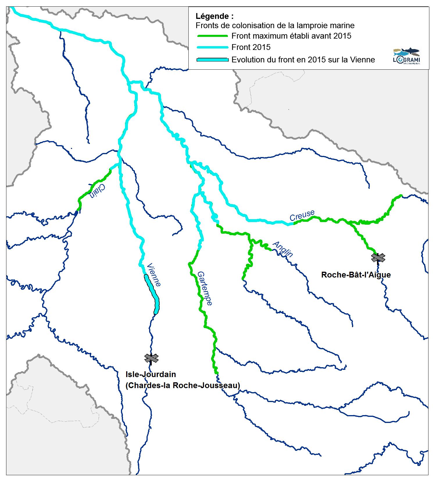 Fronts de colonisation de la lamproie marine sur le bassin Vienne en 2015