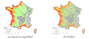 Prédictions du modèle EDA sur le réseau RHT, a) densités et b) abondances par tronçons hydrographiques pour le mois de septembre 2009. (Source: Jouanin et al., 2012)