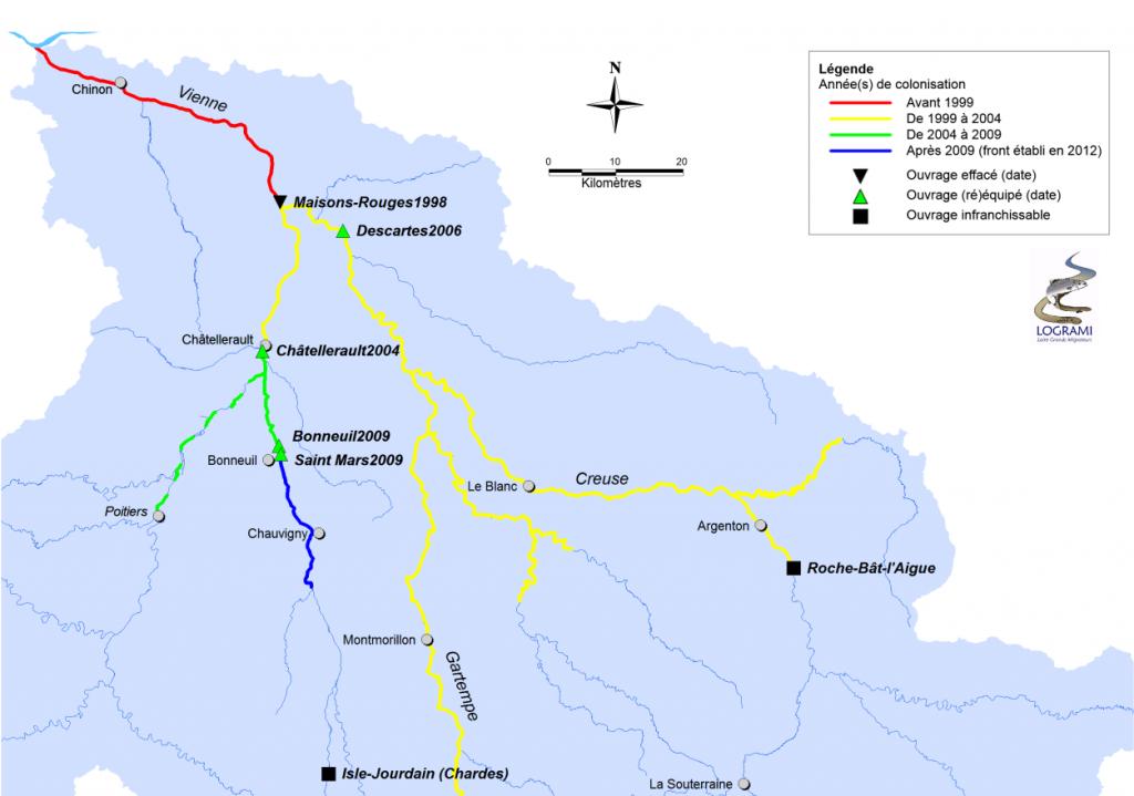 Évolution du front de colonisation de la lamproie marine sur le bassin de la Vienne en relation avec l'évolution de la continuité piscicole de 1998 à 2012 (Sources LOGRAMI).